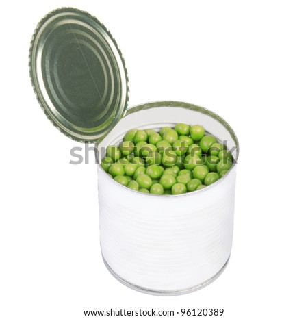 open preserve with peas isolated on white - stock photo
