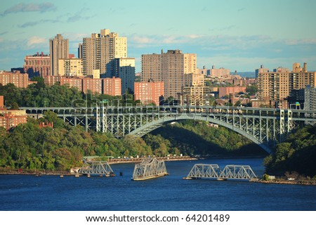 Open railroad bridge on the hudson river in new york city