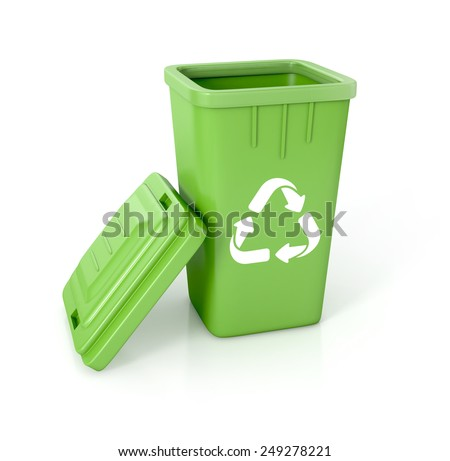 Open Recycle bin with recycle sign. 3d illustration isolated on white.  - stock photo
