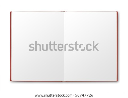 Open red book with blank pages. isolated with shadow and clipping path - stock photo