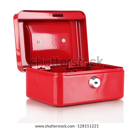 Open red case isolated on white - stock photo