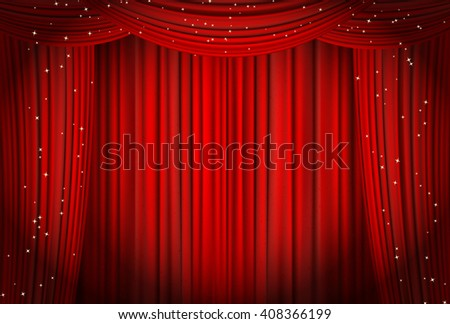 Open red curtains with glitter opera or theater background. raster