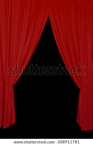 Open red drapes tied with rope. Elegant stage curtains on black background abstract design element.
