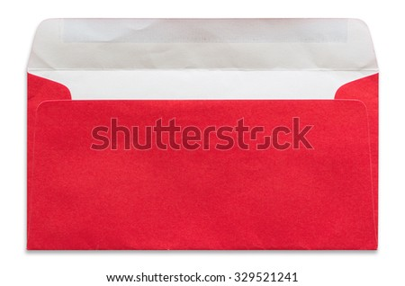 open red envelope isolated on white background - stock photo