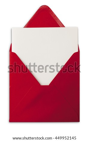 Open red envelope with card. Isolated object on white background with soft shadow.