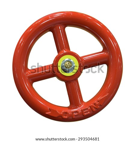 Open red gate valve isolated on the white background. This has clipping path. - stock photo
