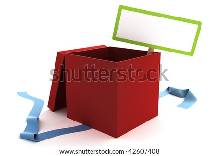 Open red gift box with a blank sign - stock photo