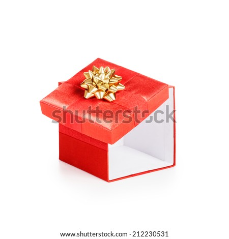 Open red gift box with gold ribbon. Christmas theme. Object isolated on white background. Clipping path. - stock photo