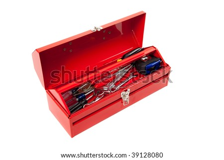 Open red metal toolbox with hammer, wrench, pliers, hammer and tape measure on a white background