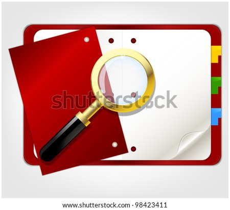 Open red organizer with marks and gold magnifier - stock photo
