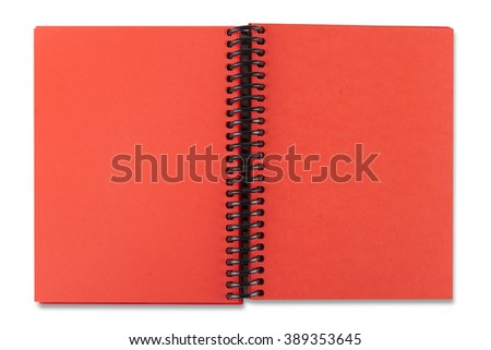 Open red paper notebook on the white background - stock photo