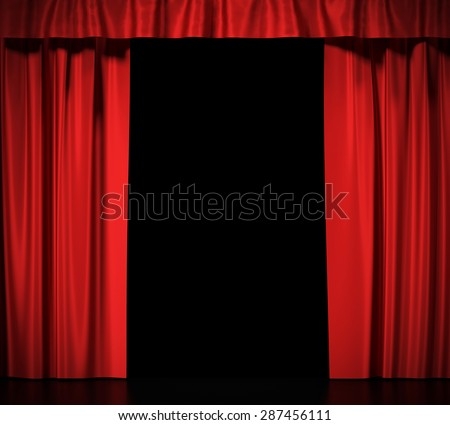 Open red silk curtains for theater and cinema spotlit light in the center. 3d illustration High resolution - stock photo