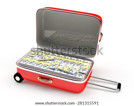 Open red suitcase with stacks of dollar bills inside isolated on white background - stock photo