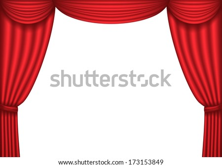 Open red theater curtain background. Raster version  - stock photo