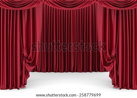 Open red theater curtain. 3d illustration - stock photo