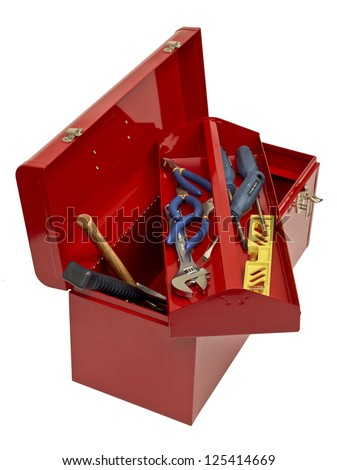 Open red toolbox with tools - stock photo