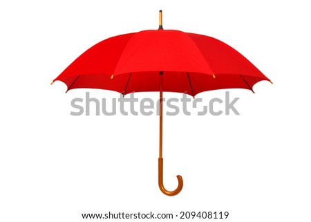 Open red umbrella isolated on white background - stock photo