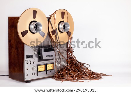 Open Reel Tape Deck Recorder Player with Messy Entangled Tape