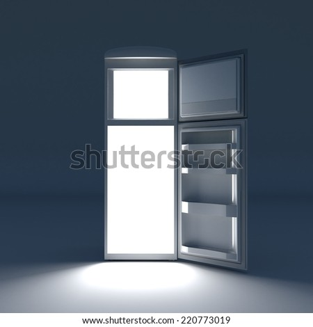 Open refrigerator with lights inside. - stock photo