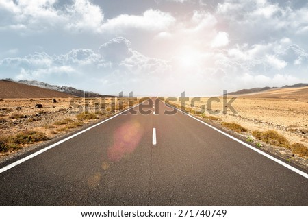 Open Road Ahead, Endless Road - stock photo