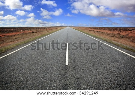 Open road in the Australian outback, western New South Wales. - stock photo