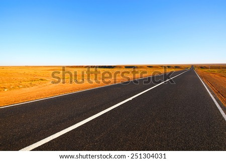 Open road. The autobahn in the desert. - stock photo