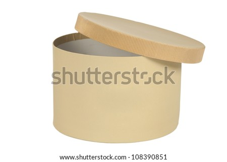 open round box, cardboard made,  isolated on white - stock photo