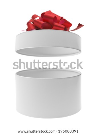 Open round gift box with red ribbon bow - stock photo