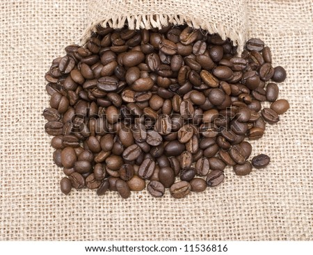 open sack and coffee beans on sackcloth