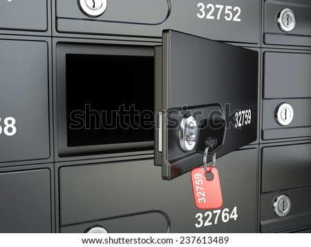 Open safe bank cell and key to the safe. 3d illustration high resolution - stock photo