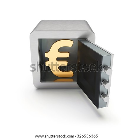 Open safe box with golden euro sign inside isolated on white background