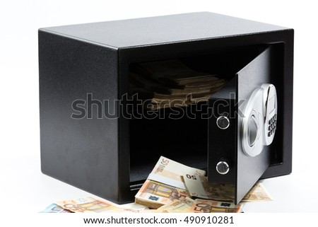 Open Safe Deposit Box, Pile of Cash Money, Euros. on white background