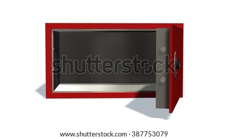 open safe in red  on a white background  - stock photo