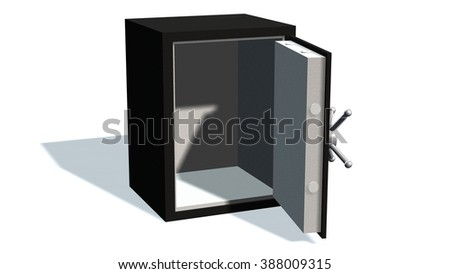 Open safe  isolated on white background  - stock photo
