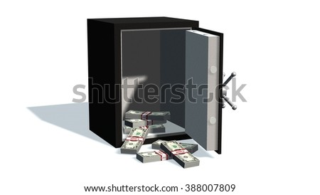 Open safe with Dollar bills isolated on white background