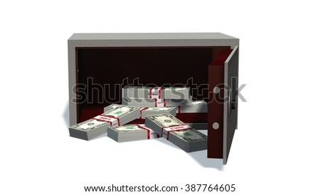 Open safe with dollars bills isolated on white background