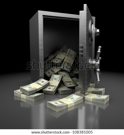 Open safe with dollars over mettalic background - stock photo