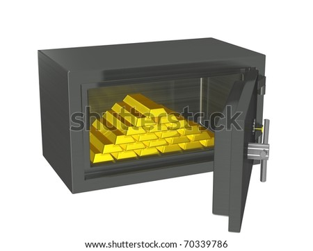 Open safe with gold in bullion