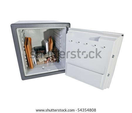 Open safe with valuable documents, cash and coins. - stock photo