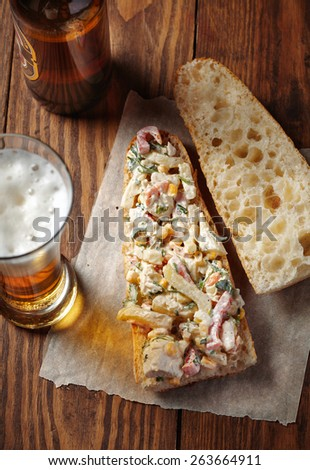Open sandwiches with chicken, vegetables and mayonnaise salad - stock photo