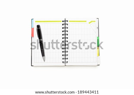 open schedule with ring binder and ball pen, isolated on white.# - stock photo