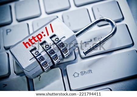open security lock with http on computer keyboard - stock photo