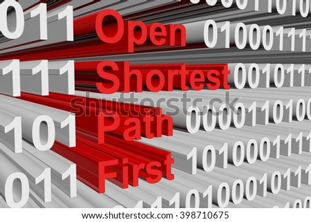 Open Shortest Path First in the form of binary code, 3D illustration