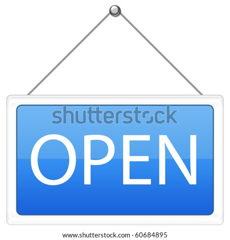 Open Sign in blue color - stock photo