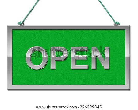 Open Sign Representing Grand Opening And Signboard - stock photo