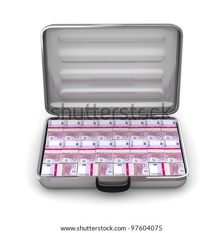 open silver grey briefcase on white ground filled with 500 Euro notes - front view