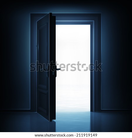 open single door from dark to light space 3D illustration - stock photo