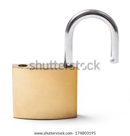 Open single metal padlock isolated on white. - stock photo
