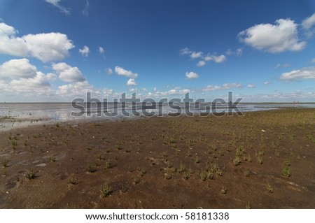Open sky and wide horizon at tidelands in Northern Germany