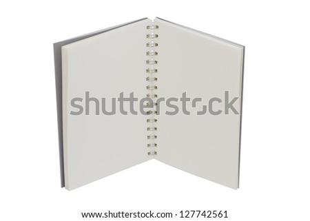 open small notebook with blank on white background - stock photo